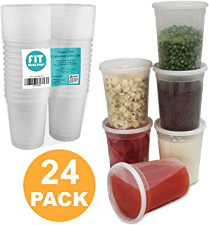 Food Storage Containers with Lids, Round Plastic Deli Cups, US Made, 32 oz, Quart Size, Leak Proof, Airtight, Microwave & Dishwasher Safe, Stackable, Reusable, White [24 Pack]