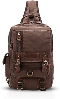 FANDARE Sling Bag Rucksack Umhängetasche Messenger Schultertasche Reisen Wandern Chest Pack Segeltuch Braun