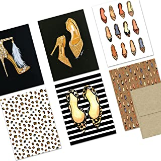 All Occasion Greeting Cards Assortment – 72 Pack – Shoes Galore – 6 Unique Designs – KRAFT ENVELOPES INCLUDED – Blank Greeting Card – Glossy Cover Blank Inside – By Note Card Café