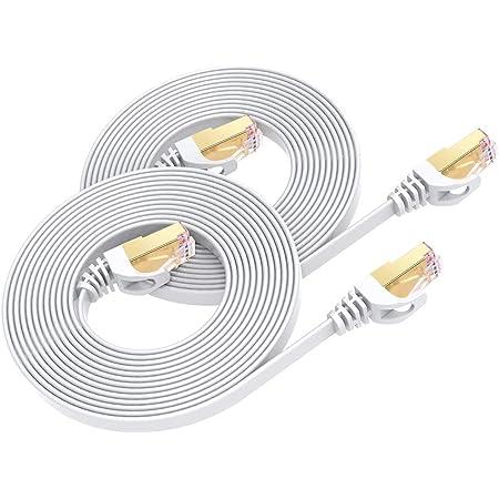 2 Pièces Câble Ethernet Cat7 1M, BUSOHE Câble Réseau LAN Gigabit RJ45 Plat Haute Vitesse, Cordon de Brassage Internet 10Gbps 600MHz pour Commutateur,Routeur,Modem,Panneau de Brassage,PC (Blanc)