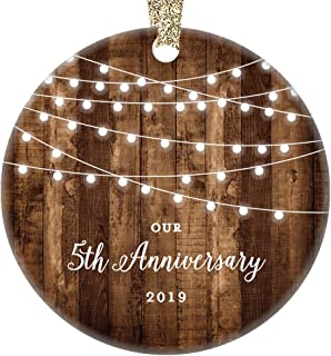 5th Anniversary Gifts Dated 2019 Fifth Anniversary Married Christmas Ornament for Couple Mr & Mrs Rustic Xmas Farmhouse Collectible Present 3