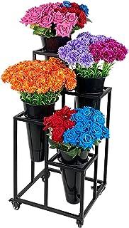 YYFANG Étagère À Fleurs, Support À Fleurs, Échelle À 4 Couches avec Roues Universelles, Fer Forgé, Seau À Fleurs en Plasti...