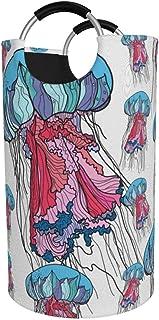 Panier à linge rond, panier à linge à fleurs de méduses, seau à vêtements pliant, poubelles de 82 L pour la maison, organi...
