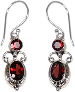 Details about  /Natural Garnet 925 Silver Ear Hook Dangle Drop Earrings Girls Jewelry P602