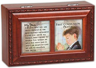 Cottage Garden First Communion Jesus Believe You Woodgrain Rope Trim Jewelry Music Box Plays Hallelujah