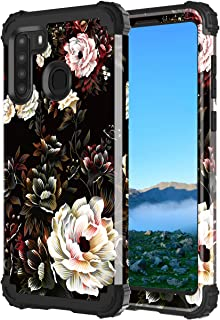 Lontect for Galaxy A21 Case (Not Fit A20) Floral Shockproof Heavy Duty 3 in 1 Hybrid Sturdy Protective Phone Cover Case fo...