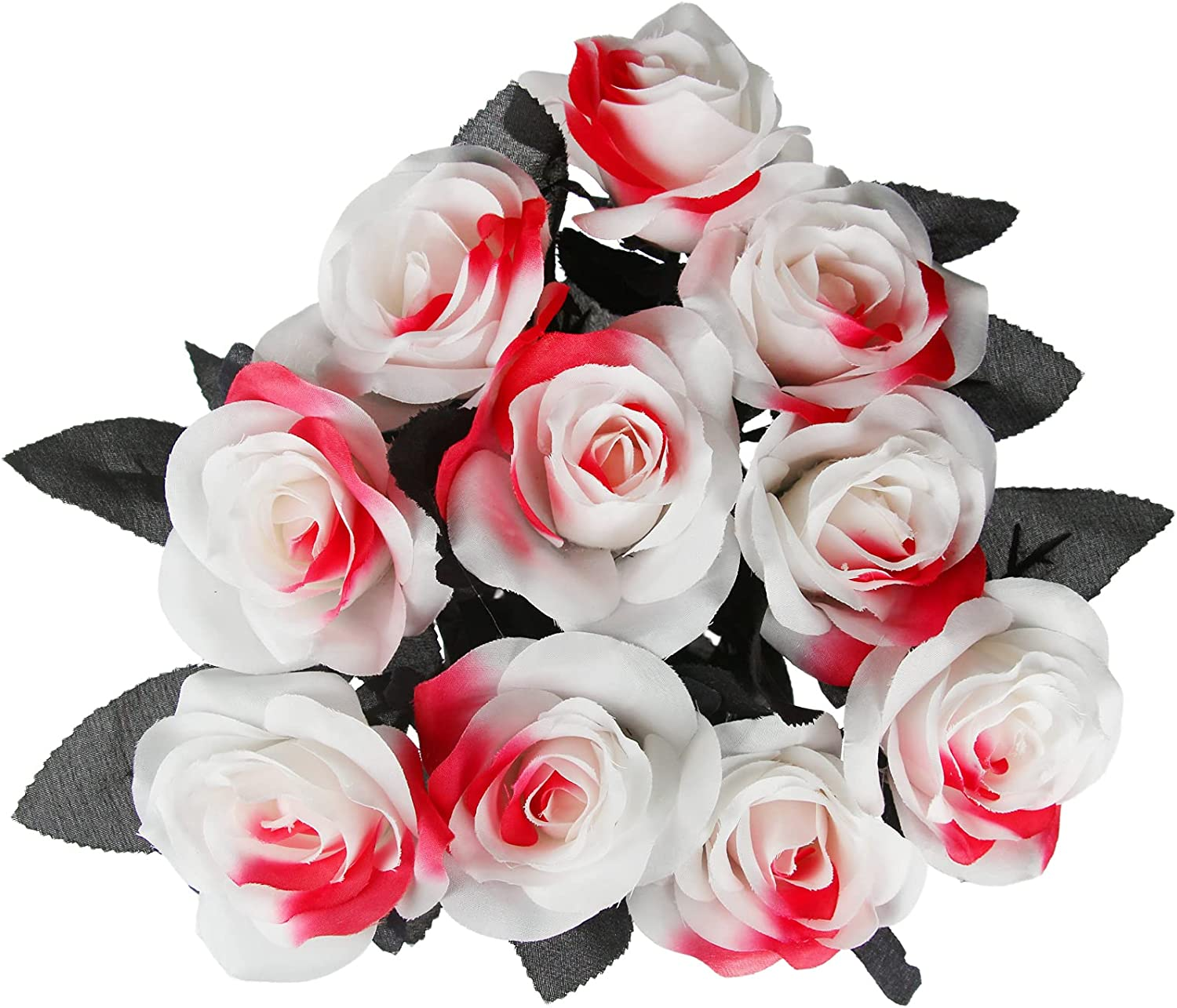 Tinsow 5% OFF 10 Clearance SALE Limited time Pcs Artificial Bloody White Roses Faux Bouquet Flowers