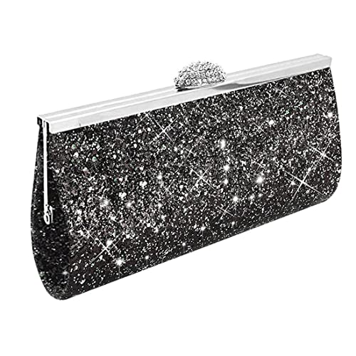 ed0736015 UNYU Fashion Womens Glitter Clutch Bag Sparkly Silver Gold Black Evening  Bridal Prom Party Handbag Purse