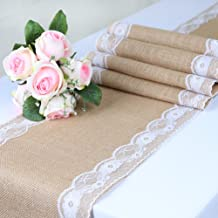 TRLYC Pack of One 12x108 Burlap with Lace Hessian Table Runner Burlap Wedding Party Tablerunner