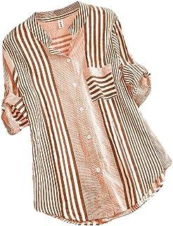 Abeaicoc Womens Fashion Pocket Tops Stripe Long Sleeve Button Down Blouse Shirts