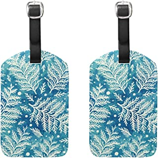 MASSIKOA Vintage Floral Leaves Cruise Luggage Tags Suitcase Labels Bag,2 Pack