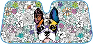 BDK Fold-up Sunshade for Windshields - Accordion Style Large Auto Shade (Flowers & French Bulldog)