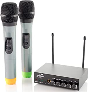 UHF Dual Channel Wireless Handheld Microphone System with 2 Cordless Mics, Receiver, and 3 FREE Audio Cables | Wire-Free Microphones | Extra-Long Range Handheld Mic Kit for Karaoke, Speaking & More