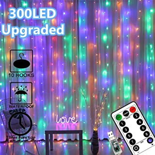 Window Curtain Lights 300 LED Upgraded Bigger Bulbs USB Plug in Fairy Lights 8 Modes Remote Control Curtain String Lights Waterproof LED Copper Wire Lights for Party Garden Bedroom Decor (Multi Color)