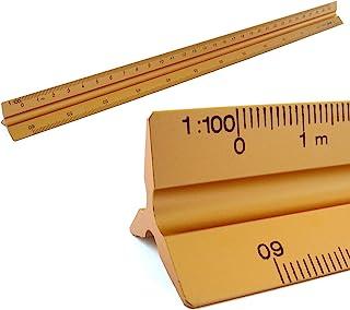 Règles Échelle aluminium à l'échelle triangulaire triangulaire 1: 100, 1: 200, 1: 250, 1: 300, 1: 400, 1: 500, 30 cm de lo...