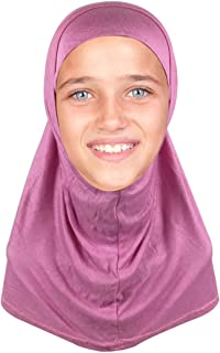 Kids Hijab Scarf for Girls Two-Piece Amira School Uniform Stretch Jersey Modal Child Size Hijabs-with Tube Underscarf Cap