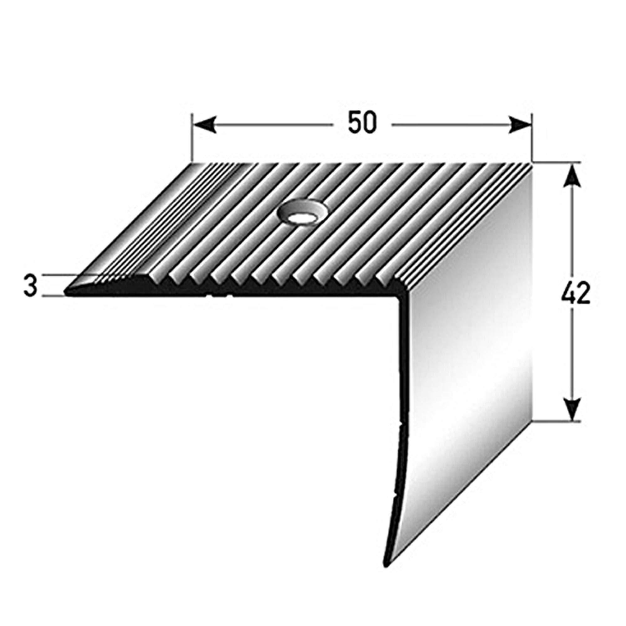 acerto 32552 Perfil angular de escalera de aluminio - 135cm 42x50mm bronce oscuro * Antideslizante * Robusto * Fácil instalación | Perfil de peldaño perfil de peldaño de escalera de aluminio: Amazon.es: Bricolaje y herramientas