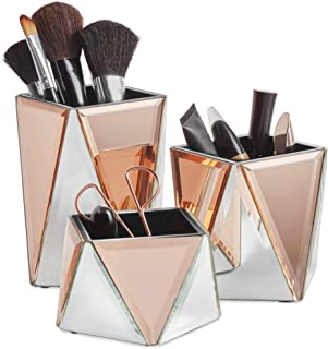 Beautify Rose Gold Mirrored Storage Pots for Makeup Cosmetics, Brushes, Jewelry and Accessories - Geometric Silver and Rose Gold, Set of 3