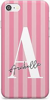 Personalizado Rosa Raya Letra Grande Estuche delgado para iPhone 7, for para iPhone 8 | Claro Silicona TPU Protector Ligero Ultra Thin Cubrir Modelo Impreso | Femenino Diseñador Monograma Lujo Nombre