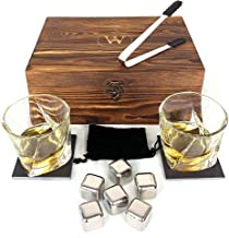 Whiskey Glasses Set, a Perfect Gift for Him or Her, 12 Piece Set inc 2 Twist Glasses, 6 Chilling Stones, Ideal for Birthda...