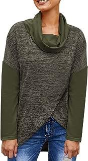 BBZUI Casual Winter Womens Long Sleeve Stitching Woolen Pile Collar Irregular Hem Tops Easy to Match Blouse