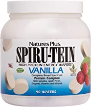 NaturesPlus SPIRU-TEIN Wafers - Vanilla - 90 Plant Protein Energy Wafers - Complete Protein & Essential Nutrients - Nutritional Energy Boosting & Overall Wellbeing - Gluten-Free - 15 Servings