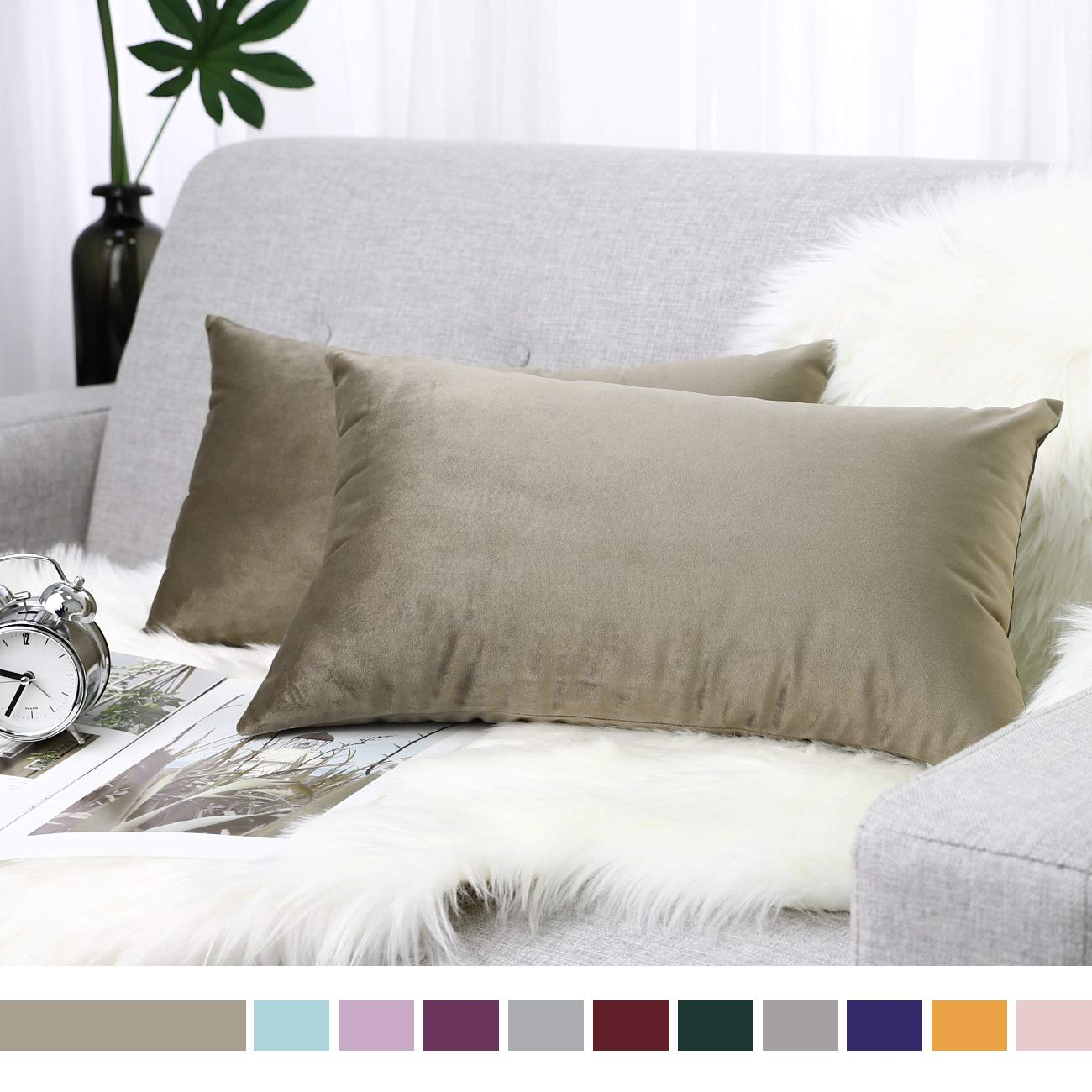 Lewondr Velvet Throw Pillow Case, 2 Pack Soft Solid Color Modern Square Pillow Case Throw Cushion Covers for Car ...