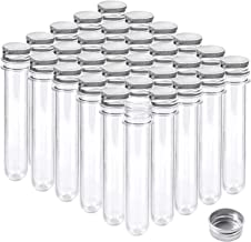 Aneco 30 Pieces 45 ml Clear Plastic Test Tubes with Screw Caps Jelly Belly Bean Cookie Nuts Bottle Containers for Jewelry Making, Birthday Goodie Bags, Bath Salt Vials