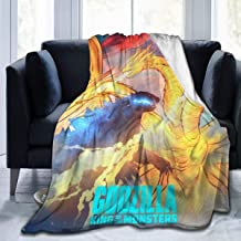 Funny Fleece Bed Blankets, King Ghidorah Monsters Godzilla and Mothra Anime Movie Poster Personalized Throw Blankets, Winter Ultra Cozy Yoga Blanket Fit Mom Chair Camping
