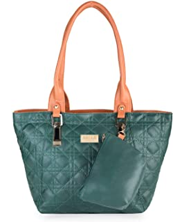 Nelle Harper PU Leather Latest Fashion Handbags for Women's (Dark Green)