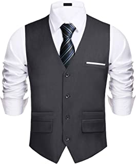 Men's V-Neck Sleeveless Slim Fit Vest Jacket Fashion Single-Breasted Business Suit Dress Vests