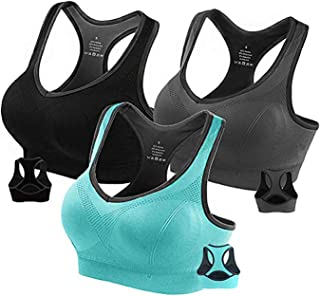 ANUNNAKI Racerback Sports Bras for Women - Padded Seamless High Impact Workout Gym Fitness Bra Support for Yoga
