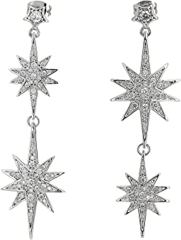 Blue by Betsey Johnson Star Double Drops with Pave Accents and Stone Star Accent at Post Earrings