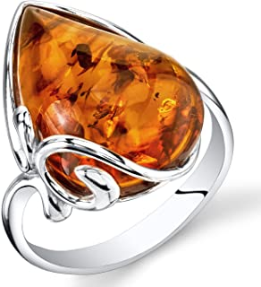 Baltic Amber Large Tear Drop Ring Sterling Silver Cognac Color Sizes 5-9