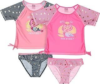 Baby Girls' 4-Piece Rashguard Swimsuit Set, 2 Tops and 2 Bikini Bottoms