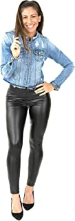 Modallywood Women's Faux Leather Leggings Pants Sexy Super Stretch Black