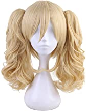Morvally Short Straight Blonde Bob Wig with Two Jaw Claws Ponytail Hair for Cosplay Costume Halloween Wigs