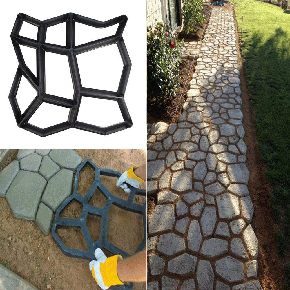 Irregular Shape Plastic Cement Concrete Path Maker Mold Walking Path Paver For Garden Lawn Path keebgyy Floor Mold Paving Mould