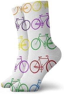 Kevin-Shop, Paquete de Calcetines de Vestir para Hombre Calcetines Divertidos de poliéster con Bicicleta de Color