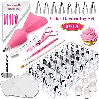 83 pcs Suministros de decoración de pasteles, Kit de herramientas de decoración Boquillas de repostería giratoria Para bolsas de crema pastelera Boquillas de tubería de hielo Consejos para hornear