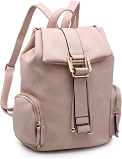 Women Fashion Backpack Purse PU Leather Rucksack Casual Travel School Backpack with Drawstring Snap Closure
