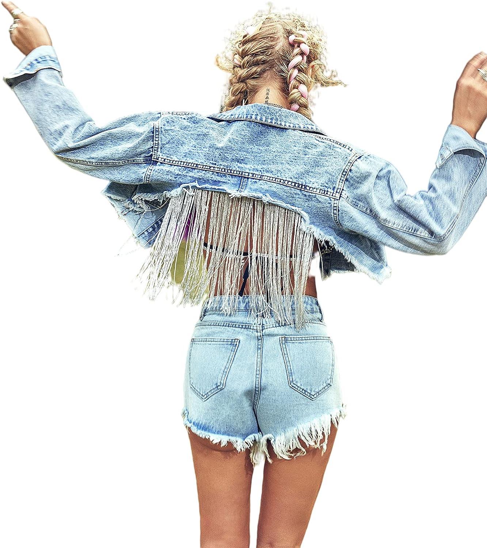 SheIn Women's Long Sleeve Fringe Cropped Denim Jacket Frayed Raw Hem Jean Jacket