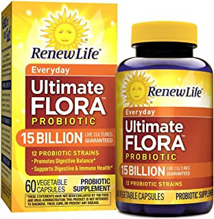 Renew Life Adult Probiotic - Ultimate Flora Everyday Probiotic Supplement - Gluten, Dairy & Soy Free - 15 Billion CFU - 60 Vegetarian Capsules
