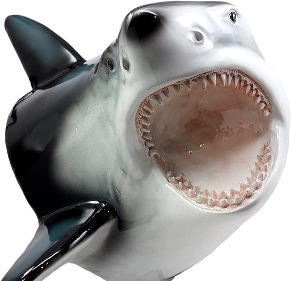 Ebros Great White Shark Trophy Wall Decor Sculptural Hanging Plaque 12 Tall Taxidermy Art Decor Sculpture Ocean Apex Predator Shark Wall Bust Plaque