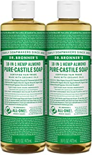 Dr. Bronner's - Pure-Castile Liquid Soap (Almond, 16 ounce, 2-Pack) - Made with Organic Oils, 18-in-1 Uses: Face, Body, Ha...