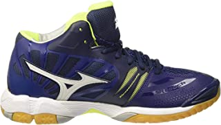 MIZUNO MID Wave Tornado X Men's Volleyball Shoes, Blue Depth/White/Safety Yellow