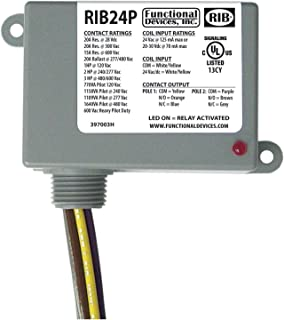 Functional Devices RIB24P Enclosed Relay, 20 Amp Dpdt with 24 Vac/Dc Coil