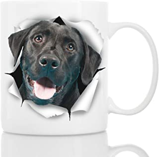 Cute Black Labrador Dog Mug - Ceramic Funny Coffee Mug - Perfect Dog Lover Gift - Cute Novelty Coffee Mug Present - Great Birthday or Christmas Surprise for Friend or Coworker, Men and Women (11oz)