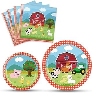 WERNNSAI Farm Party Plates Napkins Set- Barnyard Farm Animals Tableware Party Supplies for Kids Birthday Baby Shower Dispo...