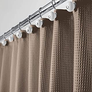 mDesign Long Polyester/Cotton Blend Fabric Shower Curtain with Waffle Weave and Rust-Resistant Metal Grommets for Bathroom Showers and Bathtubs, 72